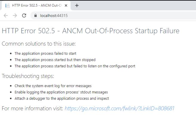Fix HTTP Error 502.5 - ANCM Out-Of-Process Startup Failure.