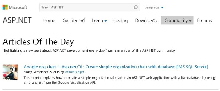 Google Ord chart+ Asp.net get selected as Article of the day - Asp.net